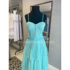 Vestido de Festa Longo Azul Tiffany Tule Busto Corpete Madrinha, Convidada, Formanda,