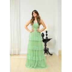 Vestido de Festa Longo Verde em Tule de Poá Recortes Laterais Madrinha, Convidada, Formanda.