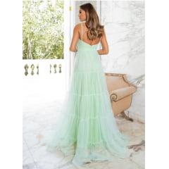 Vestido de Festa Longo Verde Menta Tule e Saia em Camadas Madrinha, Convidada, Formanda.