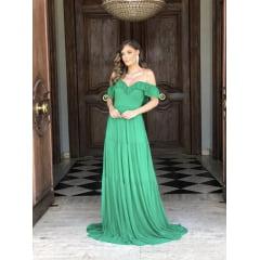 Vestido de Festa Longo Verde Ombro a Ombro e Saia em Camadas