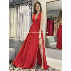 Vestido de Festa Longo Vermelho Decote em V e Fenda em Jersey Madrinha, Convidada, Formanda.