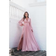 Vestido de Festa Longo Manga Poá Lurex Rosé - PEÇA EXCLUSIVA SITE