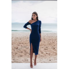 Vestido Midi Azul Royal Sereia Crepe com Elastano