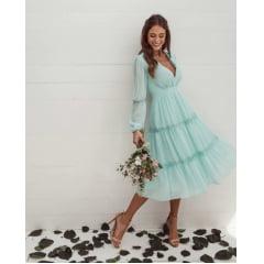 Vestido Midi Azul Tiffany Manga Longa