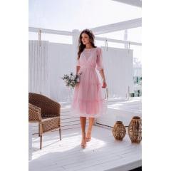 Vestido Midi Rosa Transparência Casamento Civil e Festas