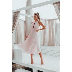 Vestido Midi Rosé Plissado