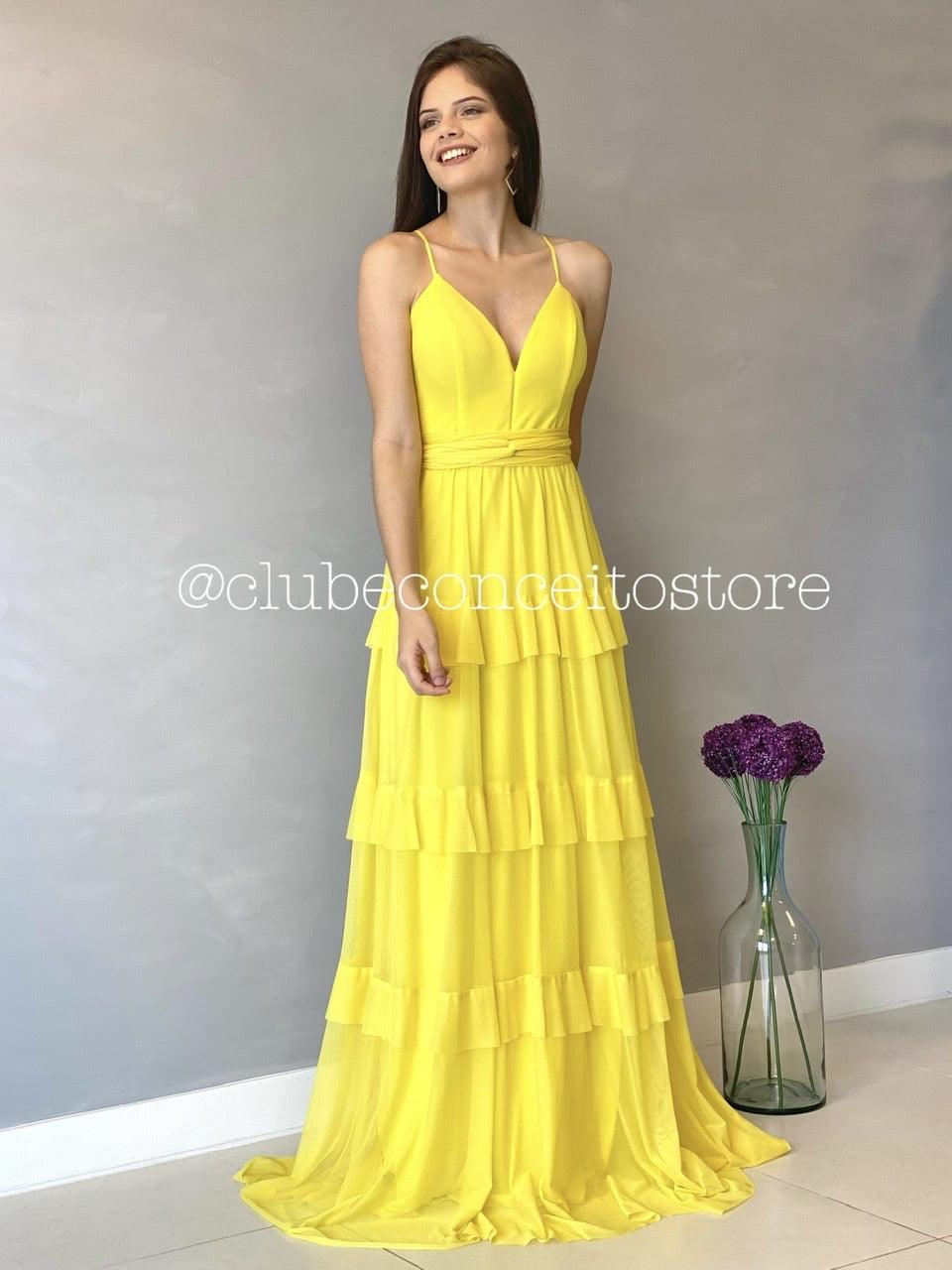 Vestido de Festa Longo Amarelo Decote em V e Saia em Camadas Madrinha, Convidada, Formanda.