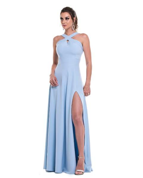 Vestido de Festa Longo Azul Serenity Frente Cruzada