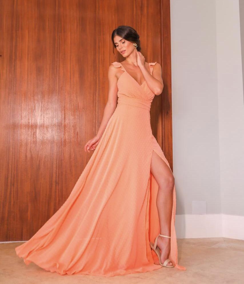 Vestido de Festa Longo Coral Chiffon com Poá E Fenda Madrinha, Convidada, Formanda.