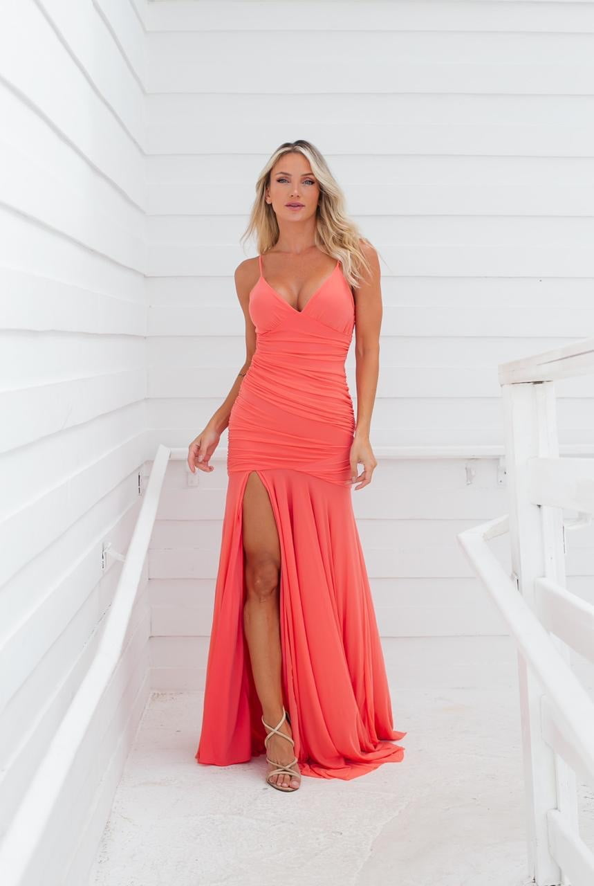 Vestido de Festa Longo Coral Sereia em Tule Madrinha, Convidada, Formanda.