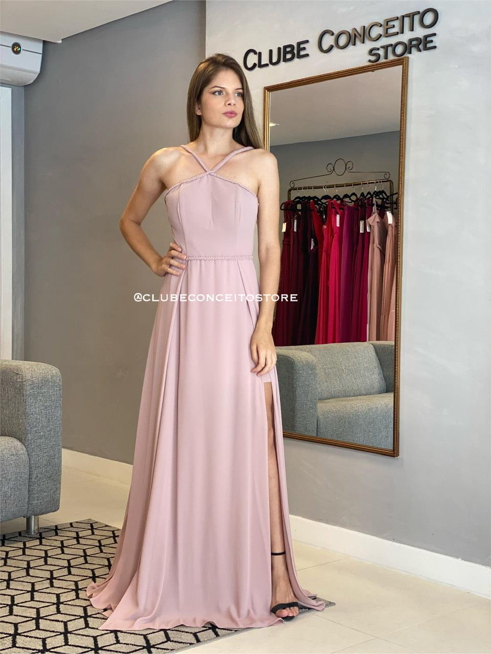 Vestido de Festa Longo Rosé Fenda Dupla Alça Trançada Madrinha, Convidada, Formanda.