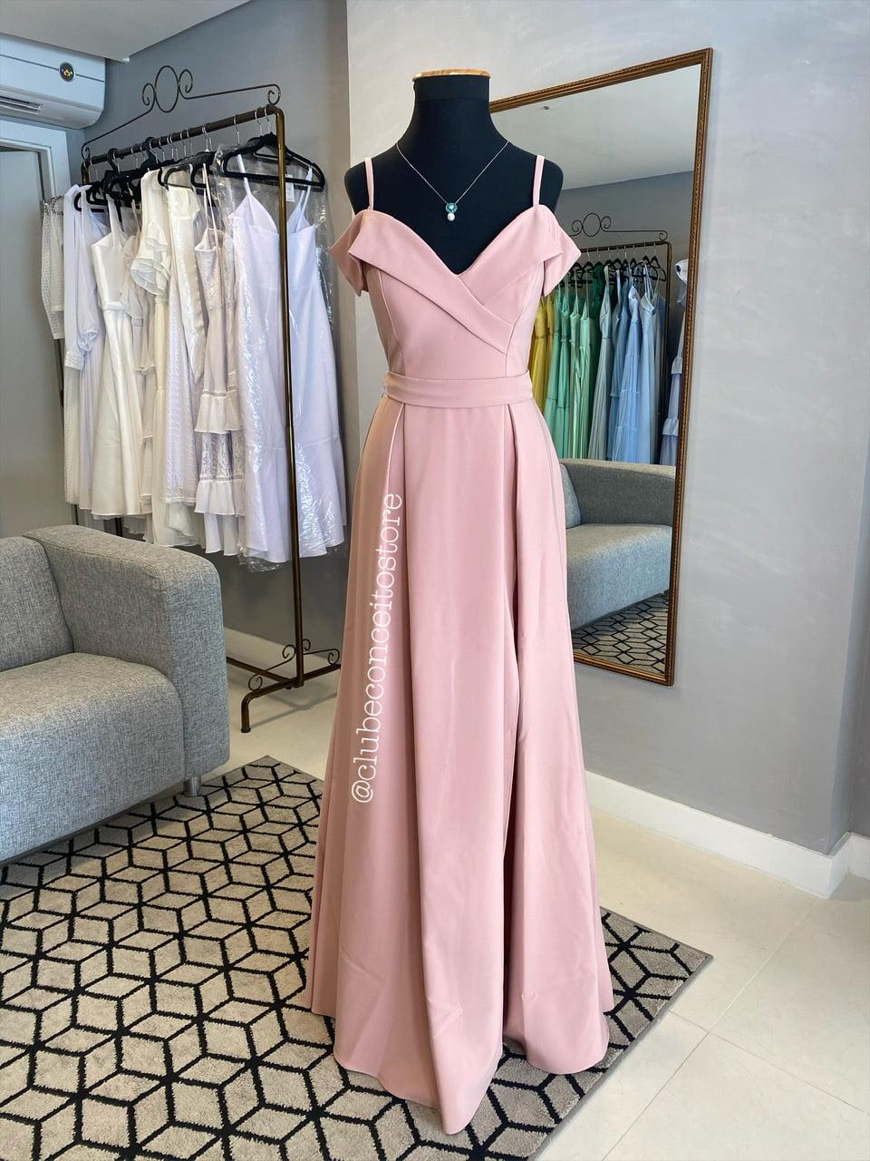 Vestido de Festa Longo Rosé Ombro a Ombro Madrinha, Convidada, Formanda.